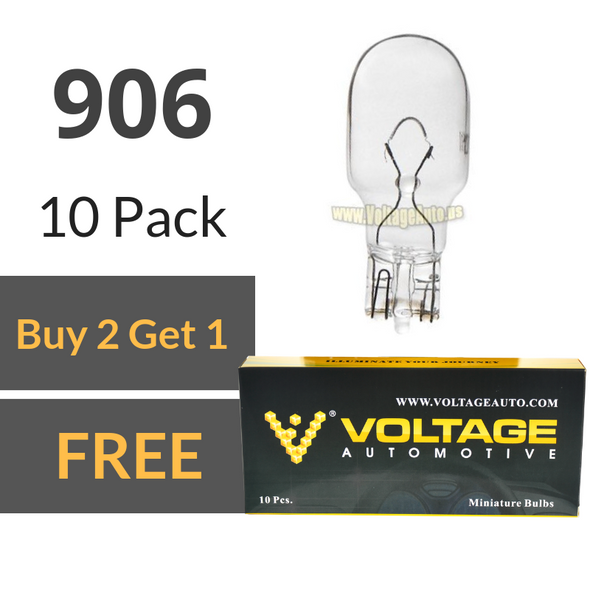 Voltage Automotive 906 Bulb For License Plate Light Side Marker Automotive Interior Light Dashboard Dome Light (Box of 10)