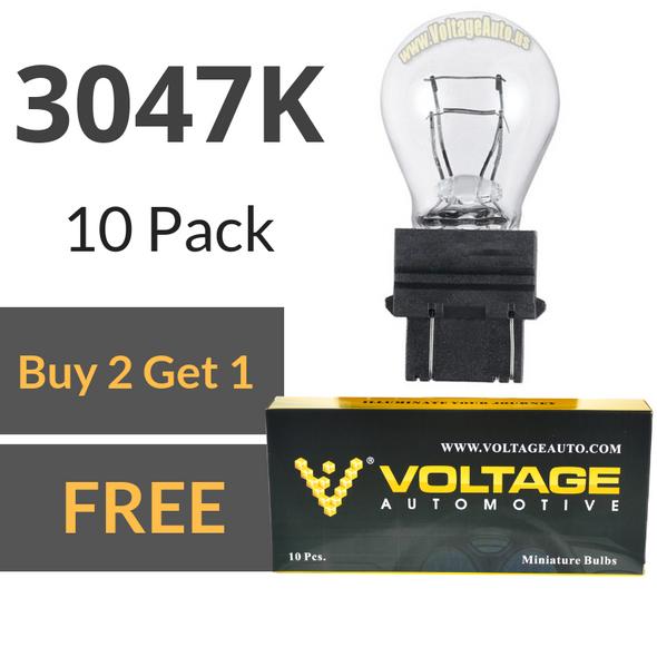 Voltage Automotive 3047K Automotive Brake Light Turn Signal Side Marker Tail Light Bulb (Box of 10)