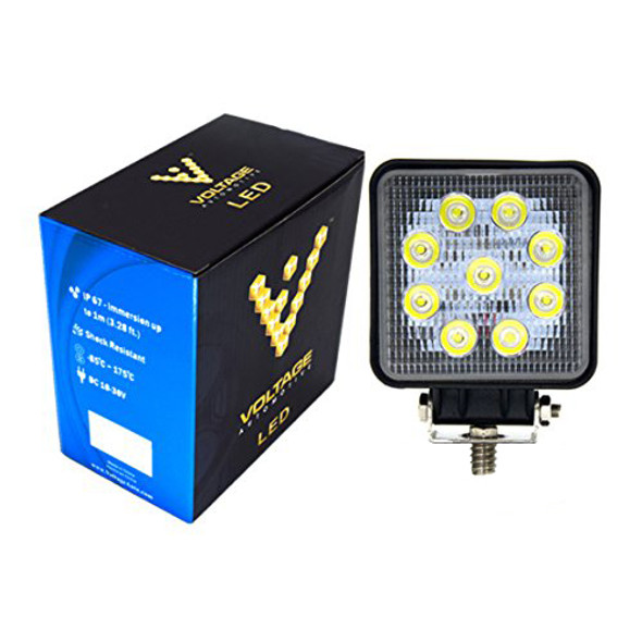 Voltage Automotive 4 inch Square 27W LED Light Flood Beam