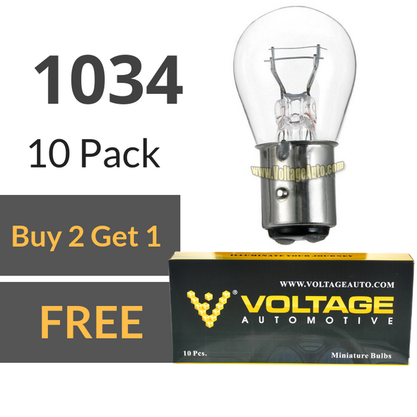 Voltage Automotive 1034 Brake Tail Light Bulb Turn Signal Bulb Side Marker Light Bulb (Box of 10)