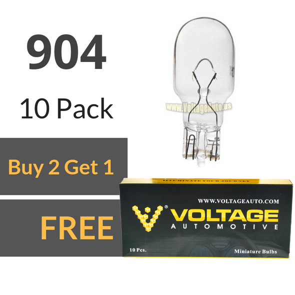 Voltage Automotive 904 Bulb For License Plate Light Side Marker Automotive Interior Light Dashboard Dome Light (Box of 10)