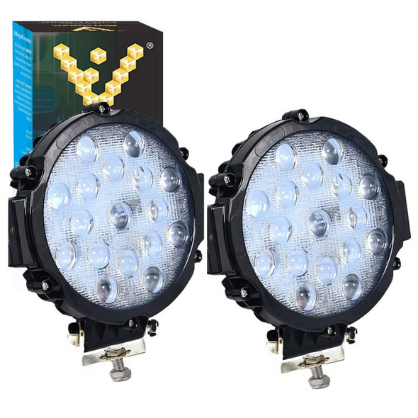 Voltage Automotive 51W LED Work Light 6 Inch Round Slim Fit Fog Driving Light 6000K (2 Pack)