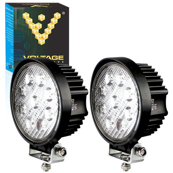 "Voltage Automotive 4"" Inch Round 27W LED Work Light Spot Light Flood Light (2 Pack)"