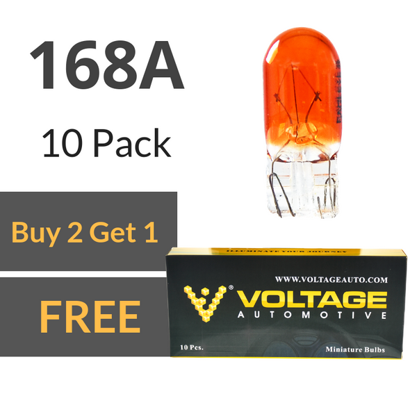Voltage Automotive 168A Amber T10 Bulb For License Plate Light Side Marker Automotive Interior Light Dashboard Dome Light (Box of 10)