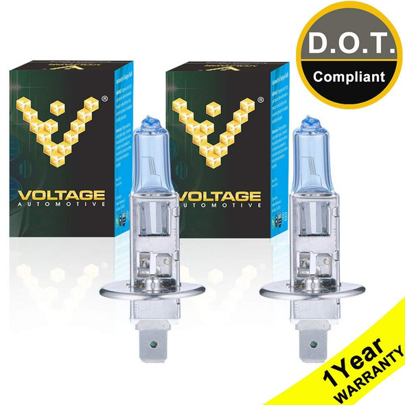 Voltage Automotive H1 64150 12258 Polarize White Headlight Bulb (Pair)