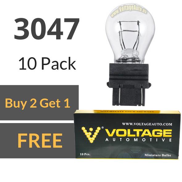 Voltage Automotive 3047 Automotive Brake Light Turn Signal Side Marker Tail Light Bulb (Box of 10)