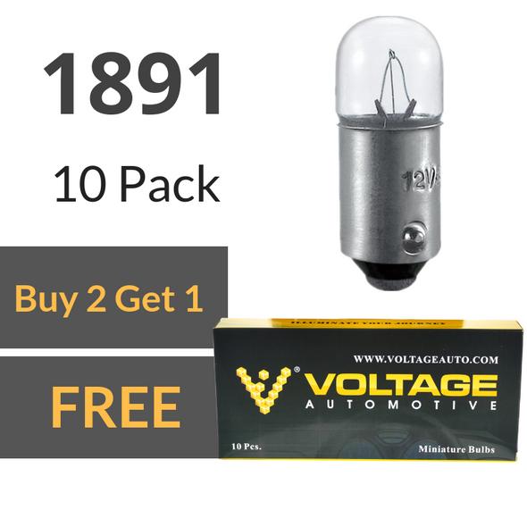 Voltage Automotive 1891 Brake Tail Light Bulb Turn Signal Bulb Side Marker Light Bulb (Box of 10)