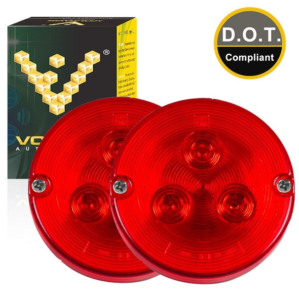 Voltage Automotive 3.7 Inch Round LED Tail Light Turn Signal Parking Light Red (Pair)
