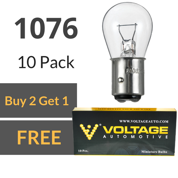 Voltage Automotive 1076 Brake Tail Light Bulb Turn Signal Bulb Side Marker Light Bulb (Box of 10)