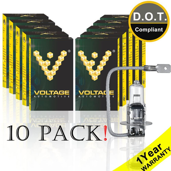 Voltage Automotive H3 Standard Headlight Fog Light Bulb (10 Pack)