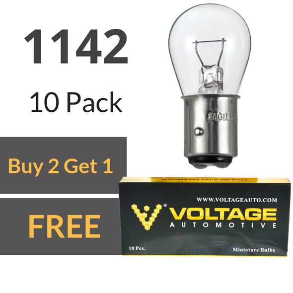 Voltage Automotive 1142 Brake Tail Light Bulb Turn Signal Bulb Side Marker Light Bulb (Box of 10)