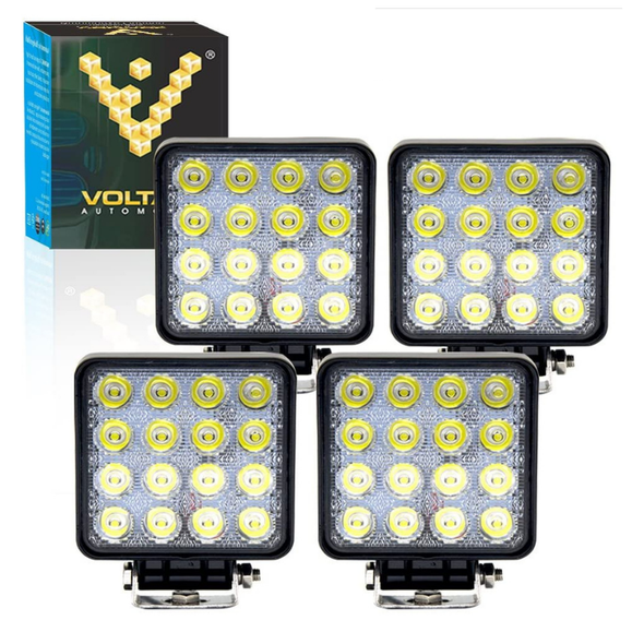 "Voltage Automotive 4"" Inch Square 48W LED Flood Work Light For Tractor Bulldozer Mower Boat (4 Pack)"