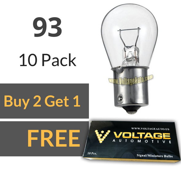 Voltage Automotive 93 Brake Tail Light Bulb Turn Signal Bulb Side Marker Light Bulb (Box of 10)