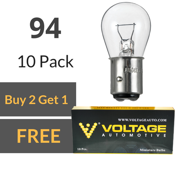 Voltage Automotive 94 Brake Tail Light Bulb Turn Signal Bulb Side Marker Light Bulb (Box of 10)