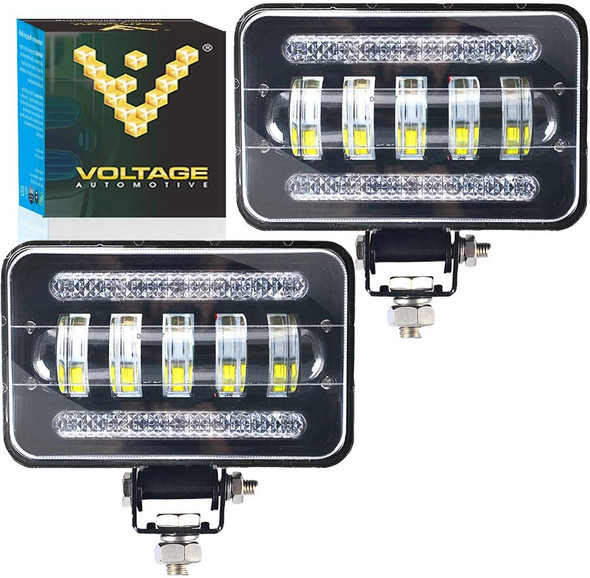 Voltage Automotive 4x6 Inch LED Off-Road Dual Driving Fog Light 6000K White (Pair)