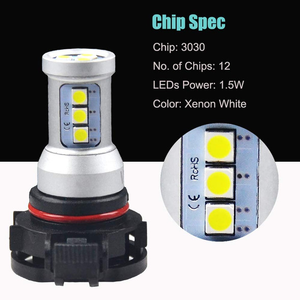 Voltage Automotive PSX24W 2504 LED Headlight Fog Light Bulb 4000K White  (Pair)