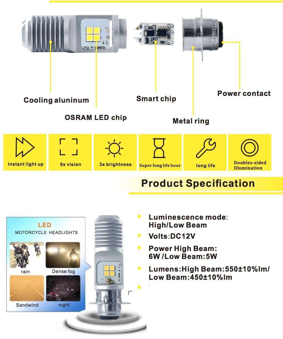 Voltage Automotive ATV Headlight Bulb for Honda Yamaha ATV (Pair)
