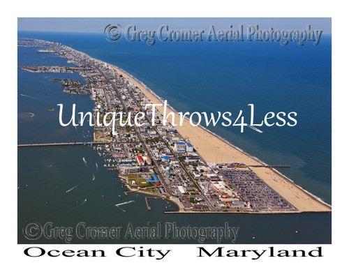 Ocean City, Maryland souvenir on photo throw blanket