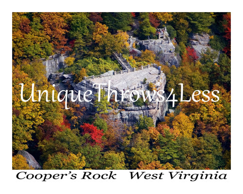 Fall foliage at Coopers Rock, West Virginia on scenic throw blankets
