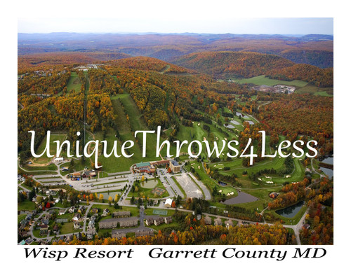 Fall foliage, Autumn at The Wisp Resort, Garret County Maryland on tapestry throw blanket