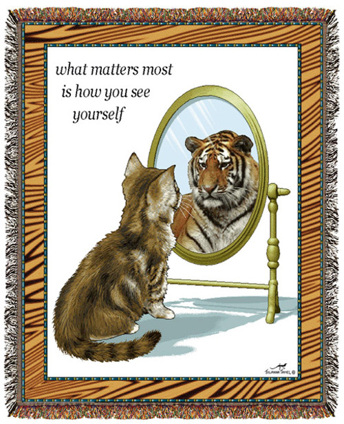 How you see yourself, kitten-tiger reflection, confidence booster, inspirational tapestry throw blanket