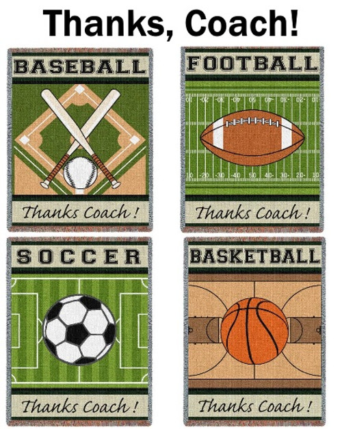 Thanks Coach sports tapestry throw blankets- baseball, soccer, football, basketball
