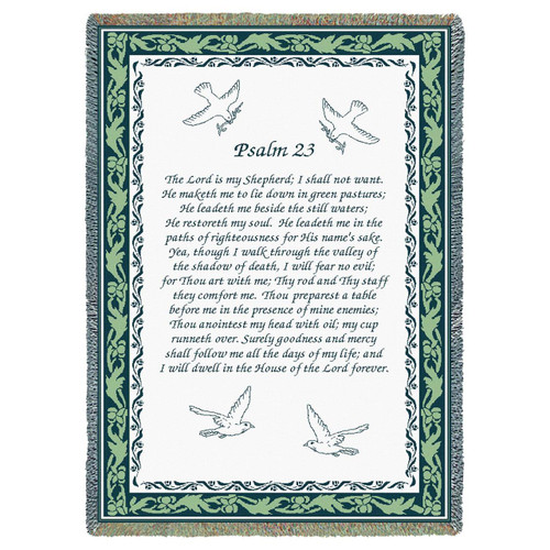 Psalm 23 Scripture Inspirational Tapestry Throw Blanket, green background, doves