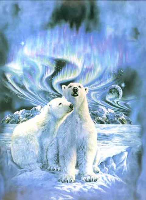 Polar Bear Northern Lights Korean Mink Throw Blanket
