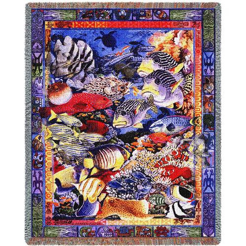 Undersea Fish tapestry throw blanket, nautical coverlet
