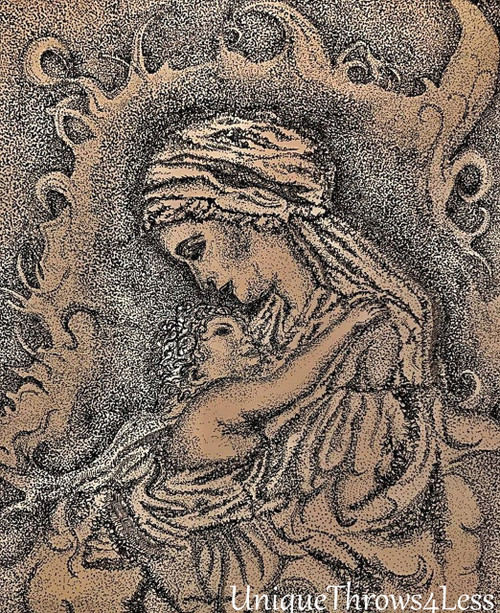 Mother Mary with Baby Jesus on inspirational tapestry throw blanket, exclusive pen and ink design