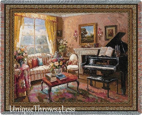 Beautiful grand piano in romantic music room