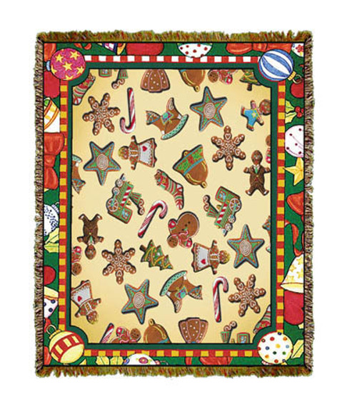 Christmas Gingerbread Cookie Tapestry Throw Blanket