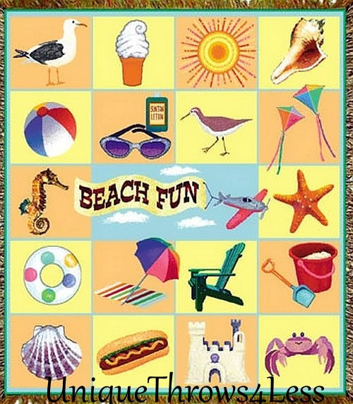 Bright and colorful Beach Fun tapestry throw blanket