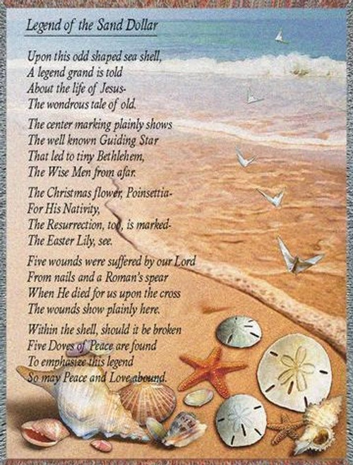 Legend of the Sand Dollar tapestry throw blanket, inspirational gift giving