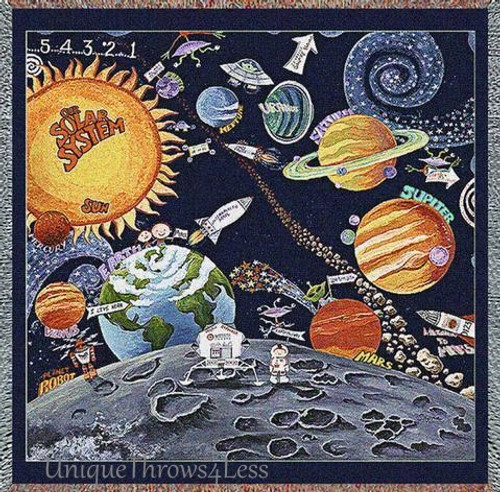 A unique space inspired planets tapestry throw blanket; boys bedroom decor featuring the solar system
