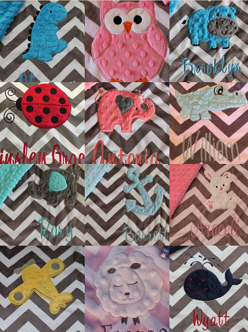 Personalized animal baby throw blanket, chevron design. Beautiful toddler lovey