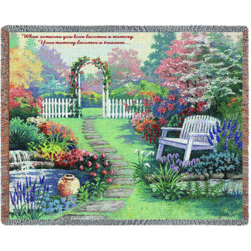 Garden Memorial Loved One tapestry throw blanket, funeral tribute, family gift