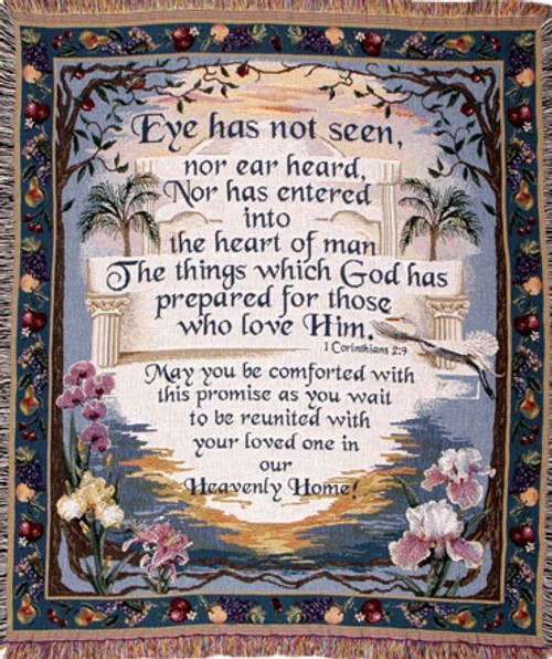 Heavenly home memorial throw blanket, Scripture tapestry of encouragement