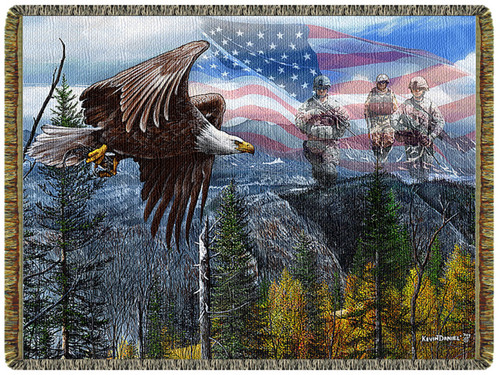 May Freedom Fly Forever tapestry throw blanket, patriotic, eagle, military
