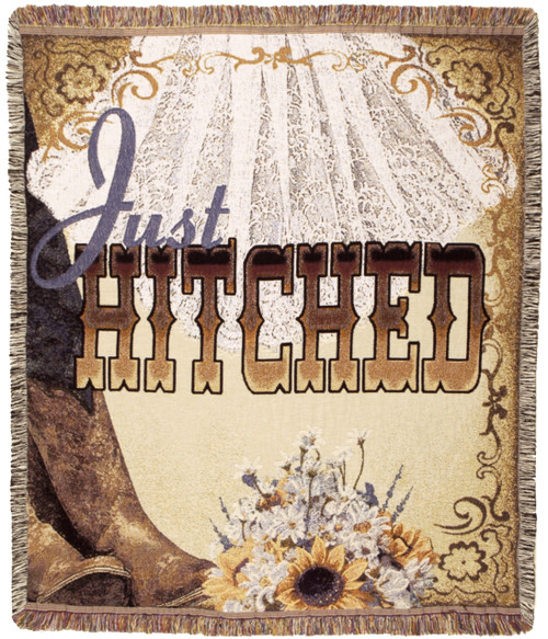 Just Hitched wedding tapestry throw blanket;  gift for the western bride