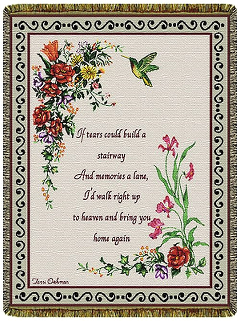 Stairway of Tears memorial tapestry throw blanket, hummingbird, inspirational