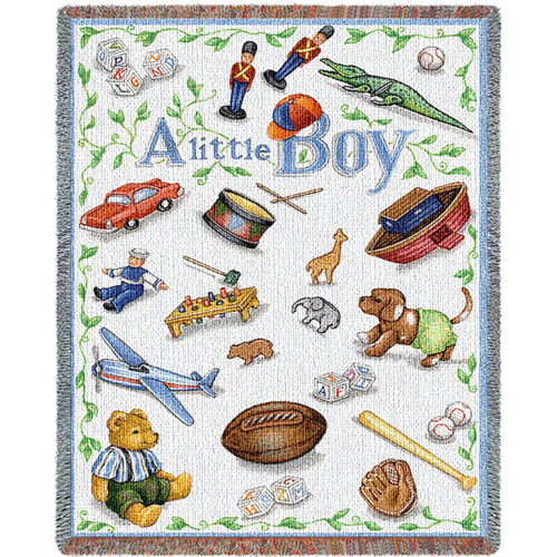 A throw blanket just for your little boy, tapestry covered in puppies, boats, sports decor and more