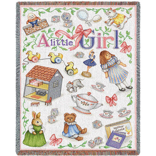 Little Girl tapestry throw blanket, princess bedroom accessory