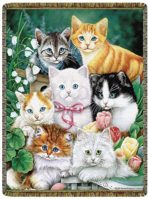 Garden kittens tapestry throw blanket, cat lover gift