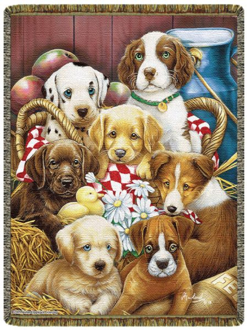 Puppy Pals tapestry throw blanket, dog lover gift