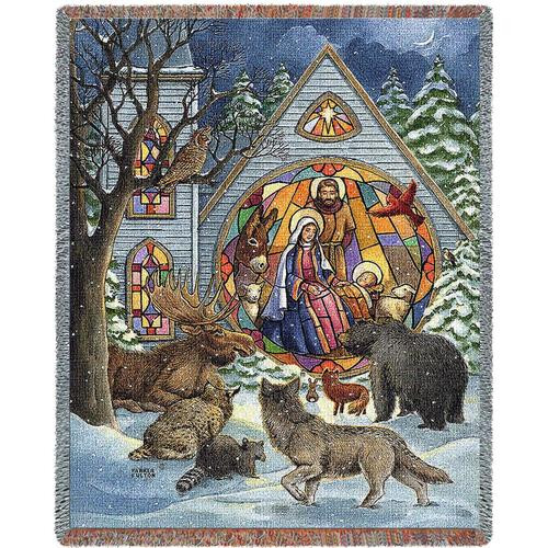 Snowy Nativity tapestry throw blanket, Christmas animals honor baby Jesus, Holy Family