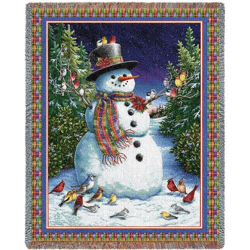 Plaid Snowman Christmas tapestry throw blanket, holiday birds