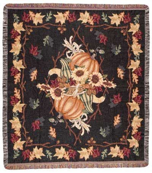 Awesome Autumn tapestry throw blanket, fall decor in pumpkins and leaves