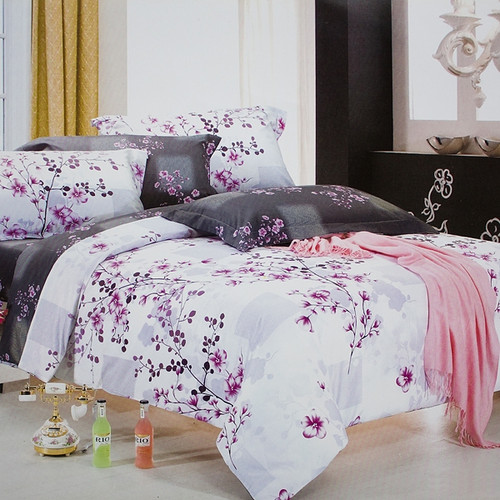 Bring romance into the bedroom with our Plum in Snow duvet bedding cover sets- white and purple design