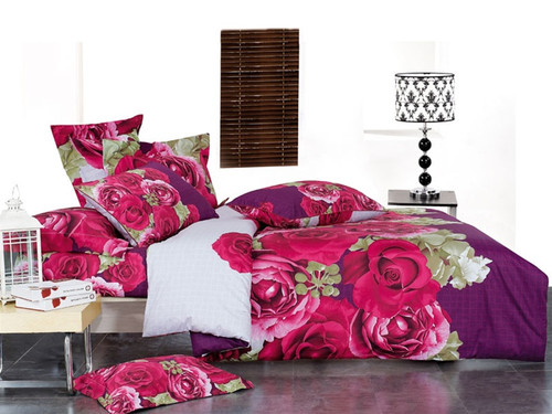 Purple and pink roses on snow white background, Rose Wish duvet bedding cover set